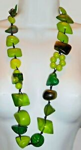 """Sobral 34"""" Long Aventuras Indiana Chunky Green Artist Made Statement Necklace"""