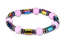Bracelet magnétique élastique multicolore et perles rose.