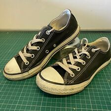 Worn-in Converse All Star Girls UK 2 Black Grungy Distressed (Laced to Top)