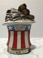 Vintage 1973 Commemerative Beam Bottle Pebble Beach US Open Flag & Golf Club