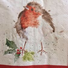 paper napkins decoupage x 2 wrendale Christmas Robins 33cm