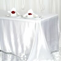 90x156 in. Satin Seamless Rectangle Tablecloth Wedding Party Banquet Rest.