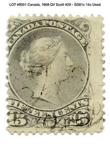 0051: Canada, 1868 QV Scott #29 - SG61c 15c Used - Large Queen