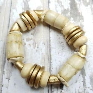 Natural wood and bamboo stretch bracelet boho gypsy lightweight gold safari
