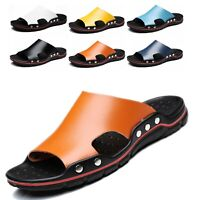 US Summer Beach Mens Casual Leather Sandals Shoes Outdoor Anti-slip Slippers