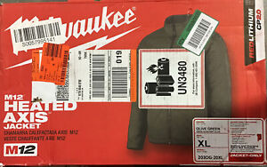 Milwaukee M12 Heated AXIS XL Jacket Green Quilted Adapter Included 203OG-21