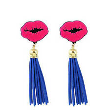 Hot Pink Blue Tassel PU Leather Earrings Pendant Bold Funky Colorful Multicolor