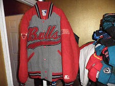 Vintage Chicago Bulls Throwback Wool Varsity Starter Jacket Large Rare!