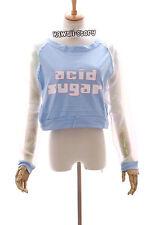 TS-26 blau Cyber Hologram Transparent Langarm Shirt Pastel Goth Lolita Harajuku