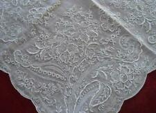 Vintage Madeira Encrusted Embroidery Hanky Honeycomb Lace Floral