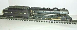 LIONEL NORFOLK AND WESTERN STEAM LOCOMITIVE & ELECTRONIC WHISTLE TENDER O GAUGE