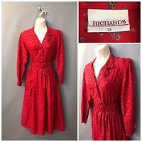 Vintage Richards Bright Red Belted Dress UK 10 EUR 38 Made in UK