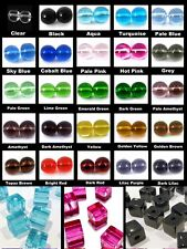BUY 3 GET 3 FREE 200x 4mm / 100x 6mm / 50x 8mm Crystal Glass Cube Beads