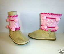 Girls Beige Suede Effect Fashion Boots with Pink Knitted Trim- UK Size 1- NEW