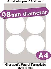 98mm Round 20 Labels Matt White Paper 5 A4 Sheets Laser Copier Inkjet Stickers