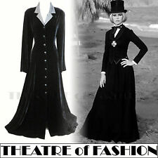 VINTAGE LAURA ASHLEY DRESS COAT 12 SILK VELVET VICTORIAN 40s RIDING 30s MISTRESS