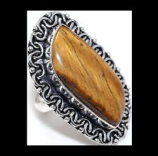 NEW - HUGE TIGERS EYE ANTIQUE SILVER STATEMENT RING SIZE 8.5