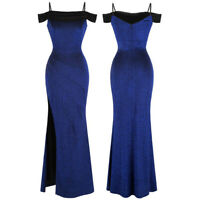 Angel-fashions Women's Off Shoulder Wrap Split Maxi Formal Evening Gown Blue 423