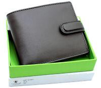 Mens Designer RFID BLOCKING Zip Coin Pocket Premium Leather Wallet 4003 Black