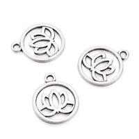 10pcs Tibetan Silver Filigree Alloy Pendants Flat Round Flower Charms 24x20mm