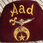 "vintage ""AAD"" SHRINERS FEZ hat/cay MADE BY LOU-WALT CORP freemasons MASONS rare"