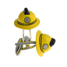 Yellow Firemans Fire Fighters Helmet Cufflinks in a Cufflink Box X2AJ949-XCBOX