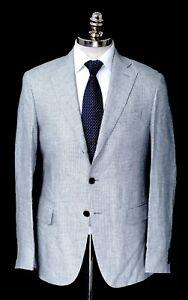 NWT CARUSO Gray Pure Linen Unconstructed Notch Lapel Sport Coat 40 7R (EU 50)