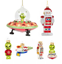 Alien In Spaceship Space Robot Christmas Tree Bauble Hanging Decoration Xmas Set