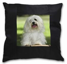 Havanese Dog Black Border Satin Feel Cushion Cover With Pillow Inser, AD-H66-CSB