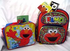 "Sesame Street Tickle Me Elmo 12"" Alphabet Backpack & Elmo Lunch Bag-New!"