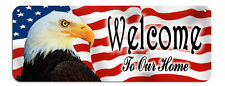 """USA Flag Eagle """"Welcome"""" Wall Sign Gifts Outdoor Indoor Plaque Patriotic America"""