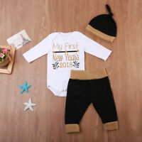 EG_ 3x My First New Years Letter Print Romper Pants Hat Toddler Baby Outfit Set