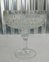 Vintage Indiana Glass Diamond Point Clear Pedestal Candy Dish Bowl