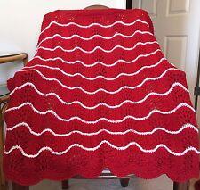 Handmade RED Knit Crochet BABY Afghan Blanket SOFT Infant Newborn BURGUNDY WINE