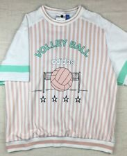 Womens Adidas Archive Tee T-shirt Vintage Retro Style Volleyball Pastel Stripes