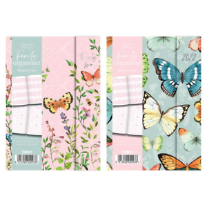 2022 A5 FAMILY ORGANISER WEEK TO VIEW MAGNETIC CLOSE BUTTERFLY HARDBACK PLANNER