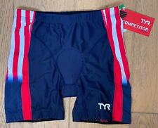 "TYR Women's Medium Red White Blue 6"" Tri Shorts COMPETITOR USA Made TEAM USA New"
