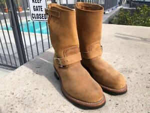 RED WING HERITAGE JAPAN #8178 Steel Toe ENGINEER BOOT in ROUGHOUT LEATHER  Sz-8D