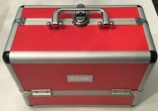 Solia Professional Red and Silver Make-up Cosmetic Train Travel Hard Case NIB