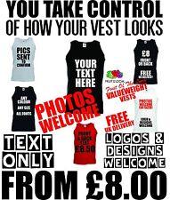 vest printing - custom design text logo printwork personalised vests all purpose