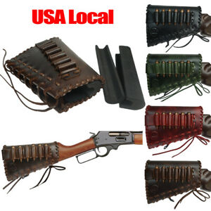 Leather Rifle buttstock Cartridge Holder buttstock Sleeve with Cheek Rest Pad