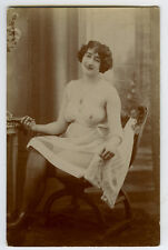 1910s Sexy French PART NUDE Top Heavy Lady Lingerie French photo postcard