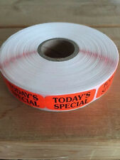 "1.25"" x .625"" TODAY'S SPECIAL MERCHANDISE LABELS 1000 PER ROLL FL RED STICKER"