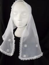 MANTILLA VEIL WHITE ORGANZA HEAD-COVER MASS CATHOLIC CHURCH HOLY COMMUNION  80