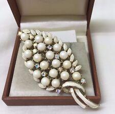 Vintage Enamel & Aurora Borealis Faux Pearl Leaf brooch Pin