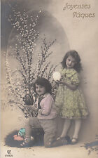 CF41.Vintage French Greetings Postcard.Children, eggs and pussy willow.