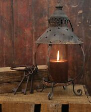 "Primitive Decor Table Lantern-Antiqued Rustic Finish, 13"" Tall, Holds 4"" Pillar"