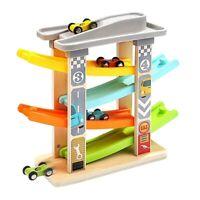 Baby Auto Spielzeug für 3-6 Jahre Alt, 4 Mini Auto Holz Bahn Rampe Renn Spi W7M2