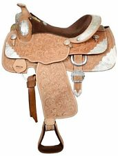 "Double T Fully Tooled Western Pleasure Silver Show Saddle 16"" Light Oil Leather"