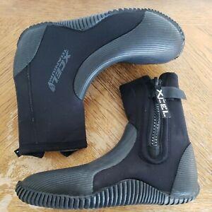 XCEL Wetsuit Titanium 6.5 MM Zippered Diving Boots Bootie Size 9 Black Sports